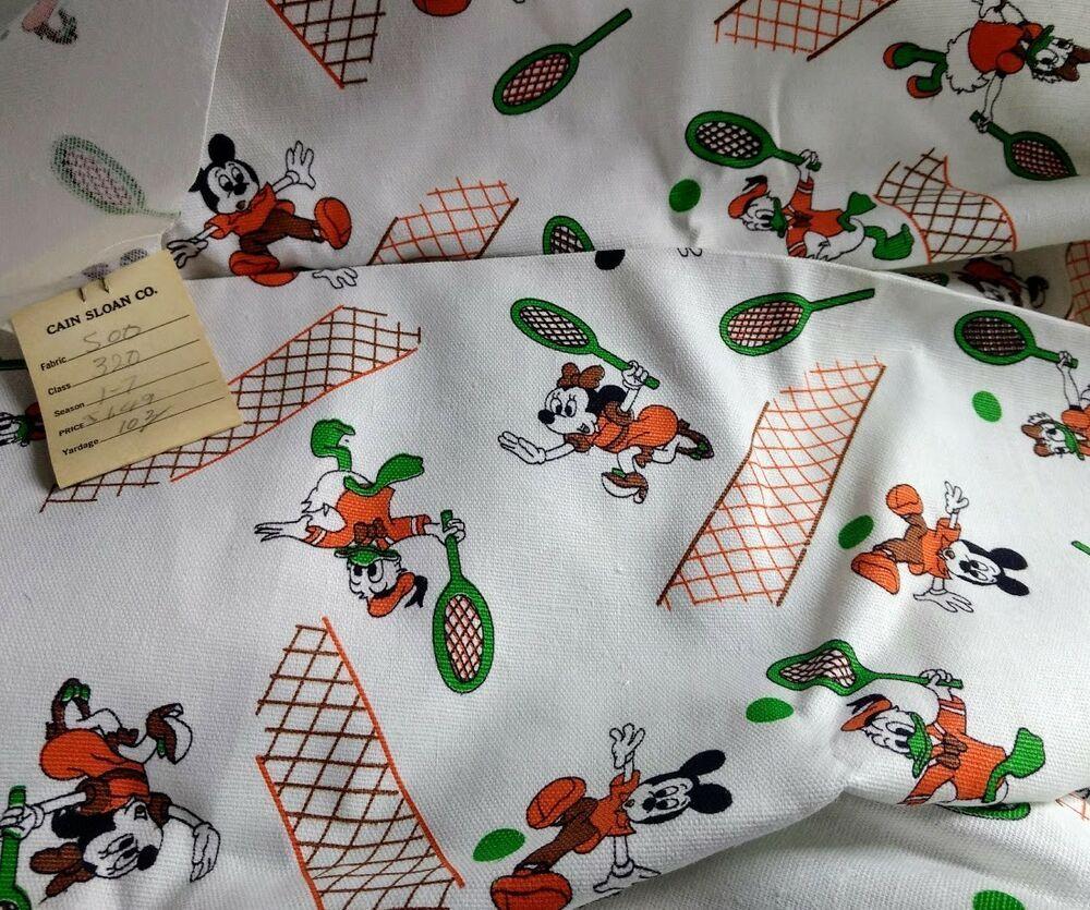 Vtg Disney Mickey Minnie Mouse Donald Daisy Duck Material Fabric