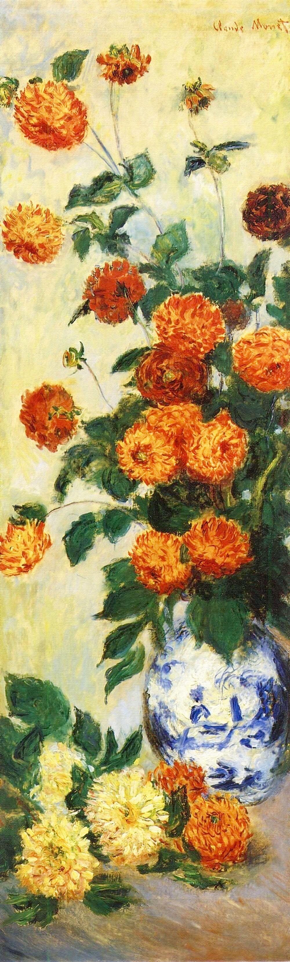 Claude Monet: Dahlias[ダリア] (1883) | Van gogh art, Flower painting, Artist