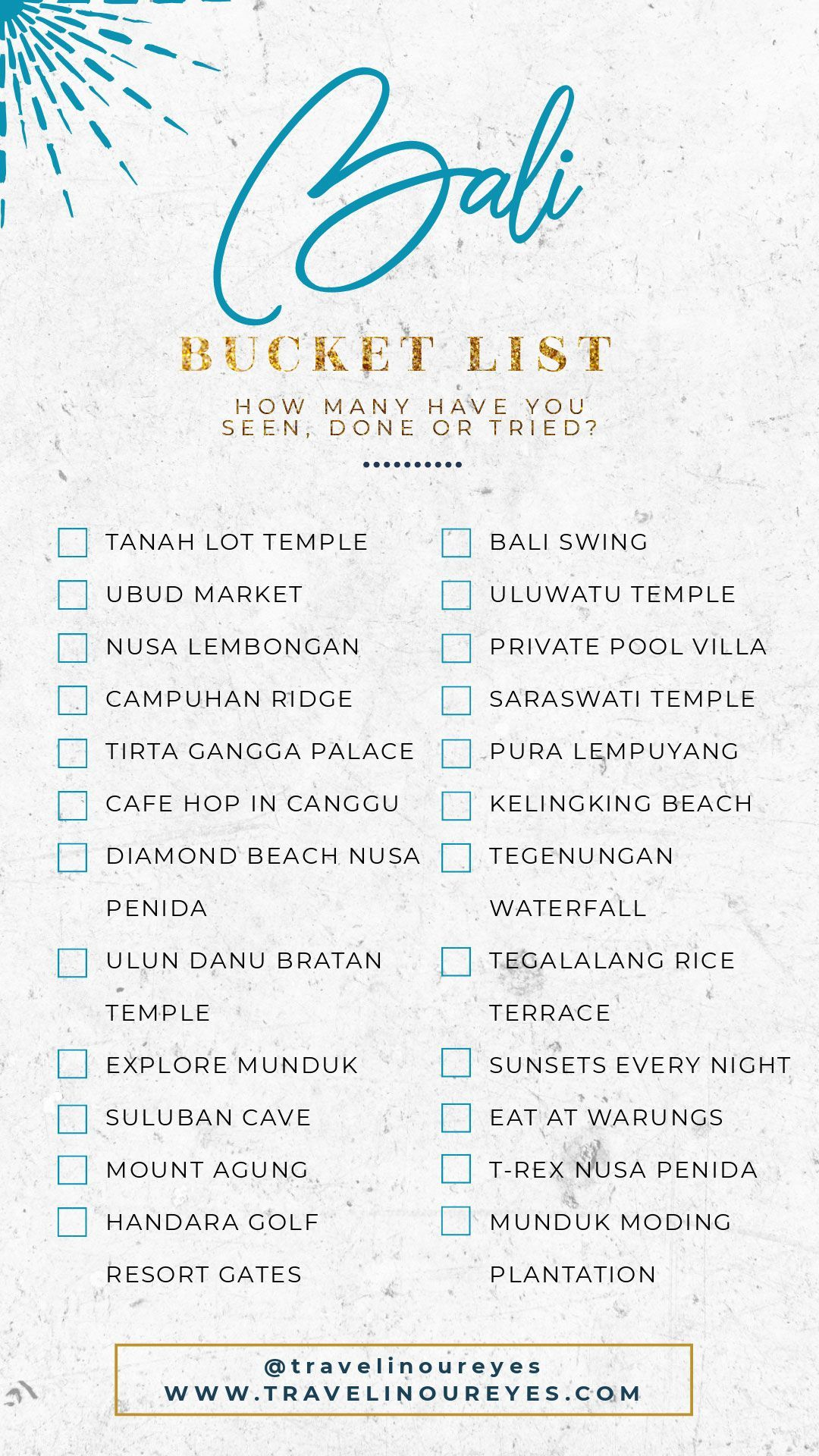 Bali Bucket List #traveldestinations