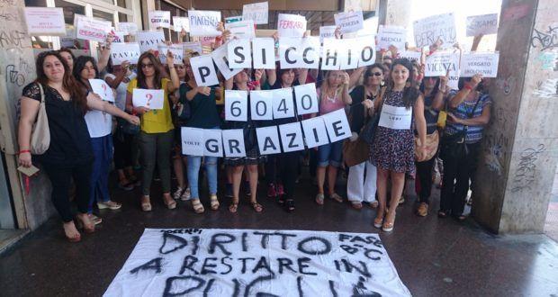 Nastrini Rossi pugliesi in protesta per chiedere di non essere trasferiti