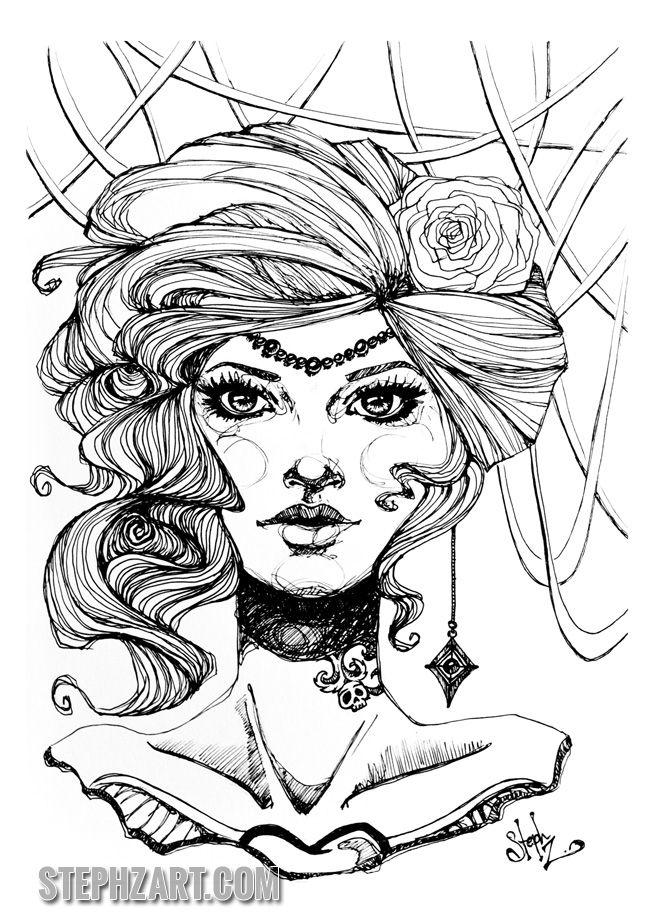 victoria - victorian lady illustration art ink tattooed ...