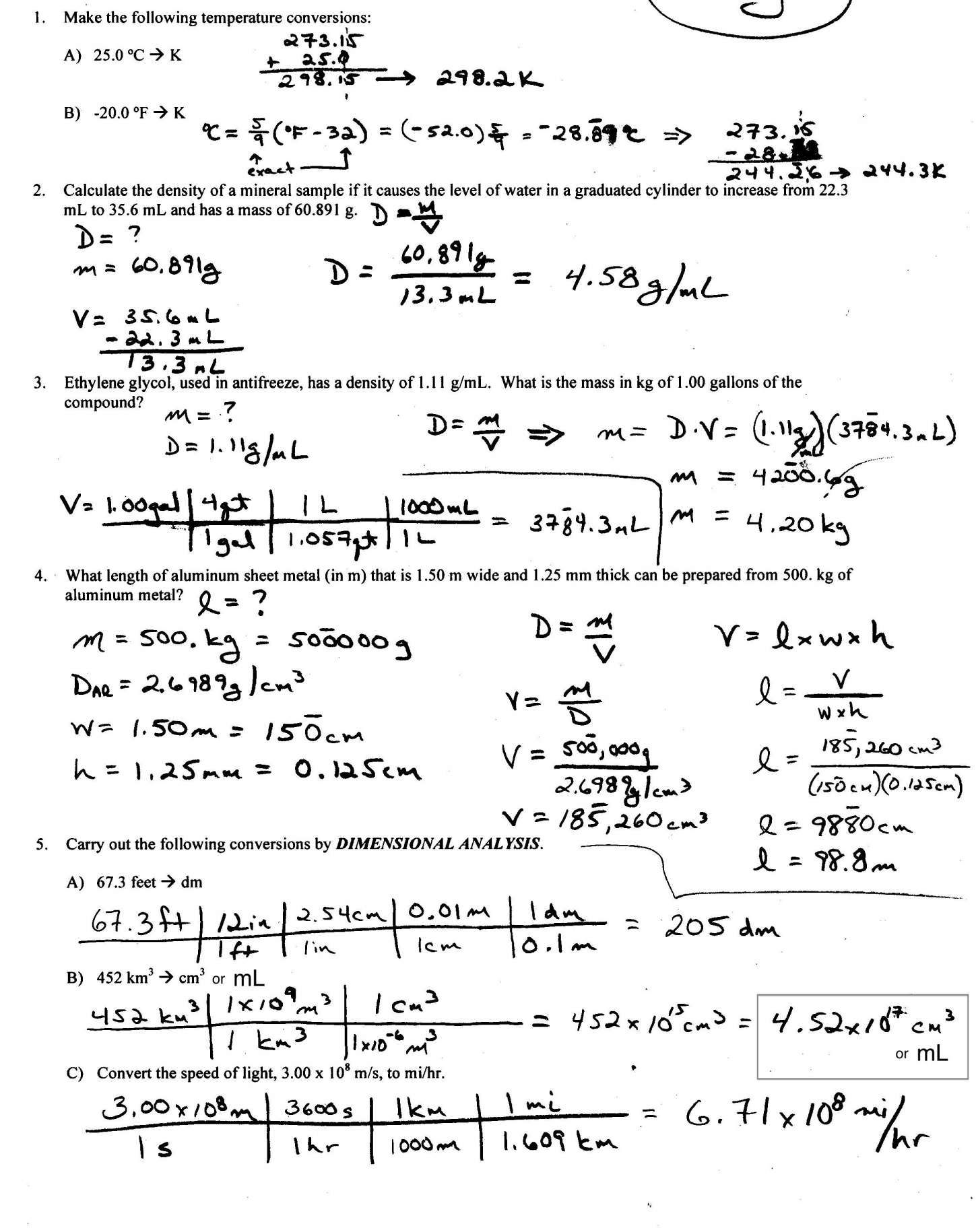 10 Density Math Worksheet