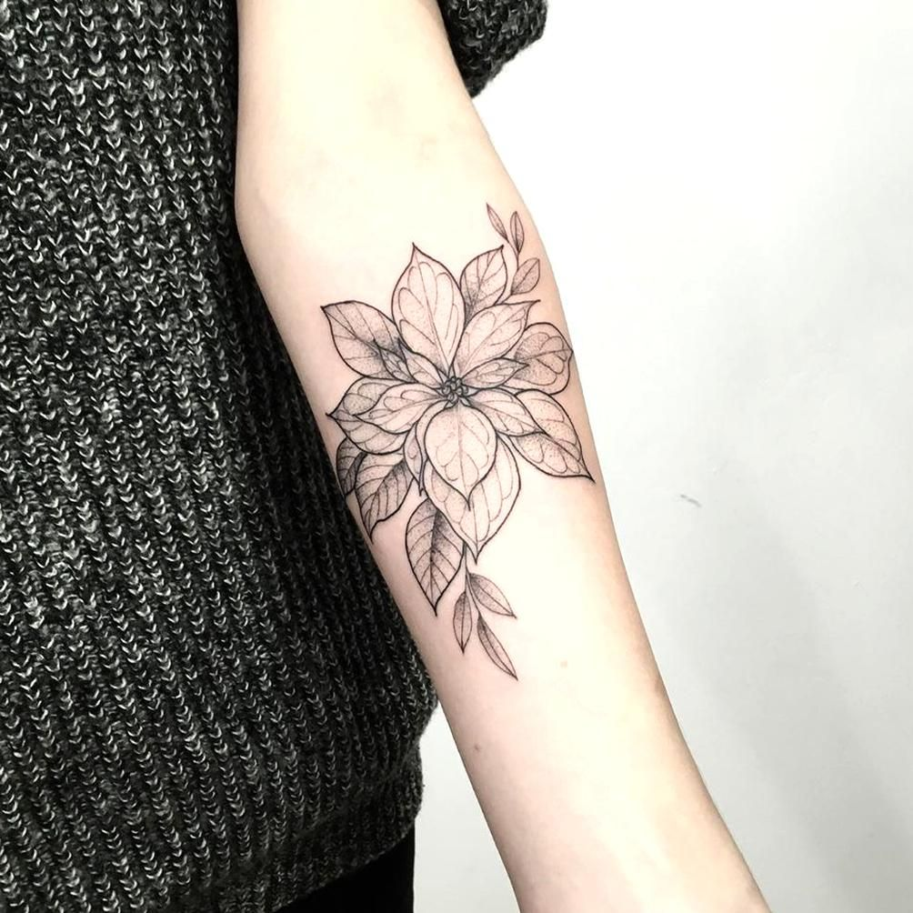 Poinsettia Tattoo In Black And White On Forearm In 2020 Forearm Flower Tattoo Flower Tattoo Designs Flower Tattoo