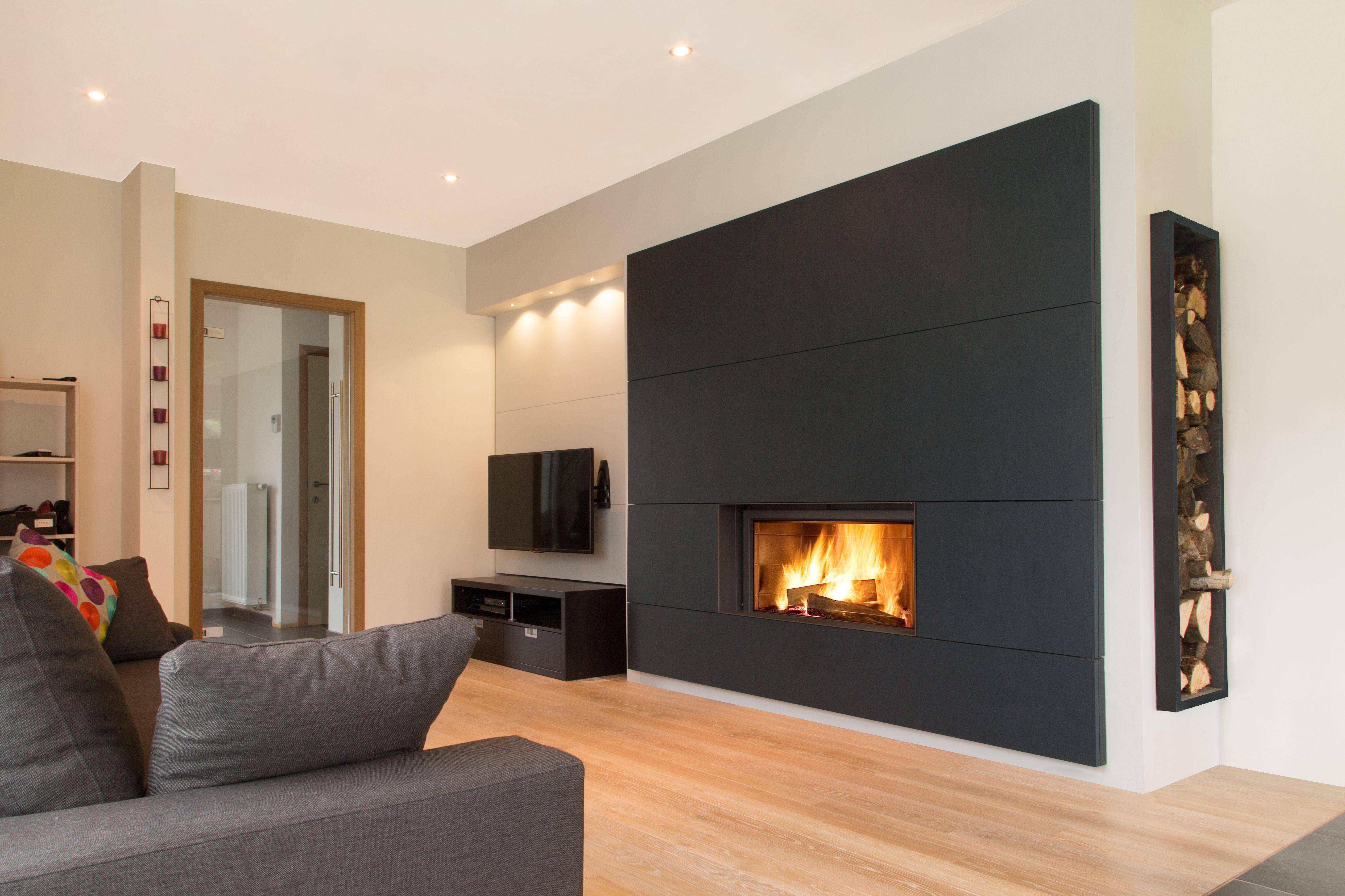 Projet F Assesse Belgique Stuv 21 105 Agencement Complet Realise Sur Mesure Maison Style Deco Maison Cheminee Moderne