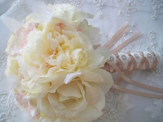 free shipping.....Renaissance Ivory and Champagne Bridal Bouquet Wedding Flower…