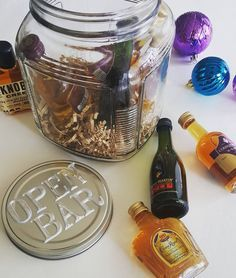 Pinterest Did Not Disappoint Re Creative Gift Ideas Mini Bar In A Jar Is My New Fave Get Excited For Y Mason Jar Gifts Christmas Jars Christmas Gift Baskets