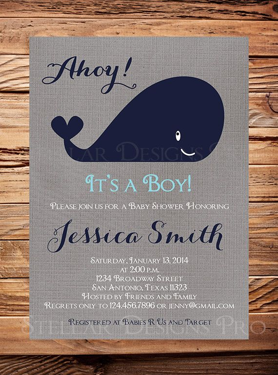 Whale Baby Shower Invitation Baby Shower Whale Boynavy gray