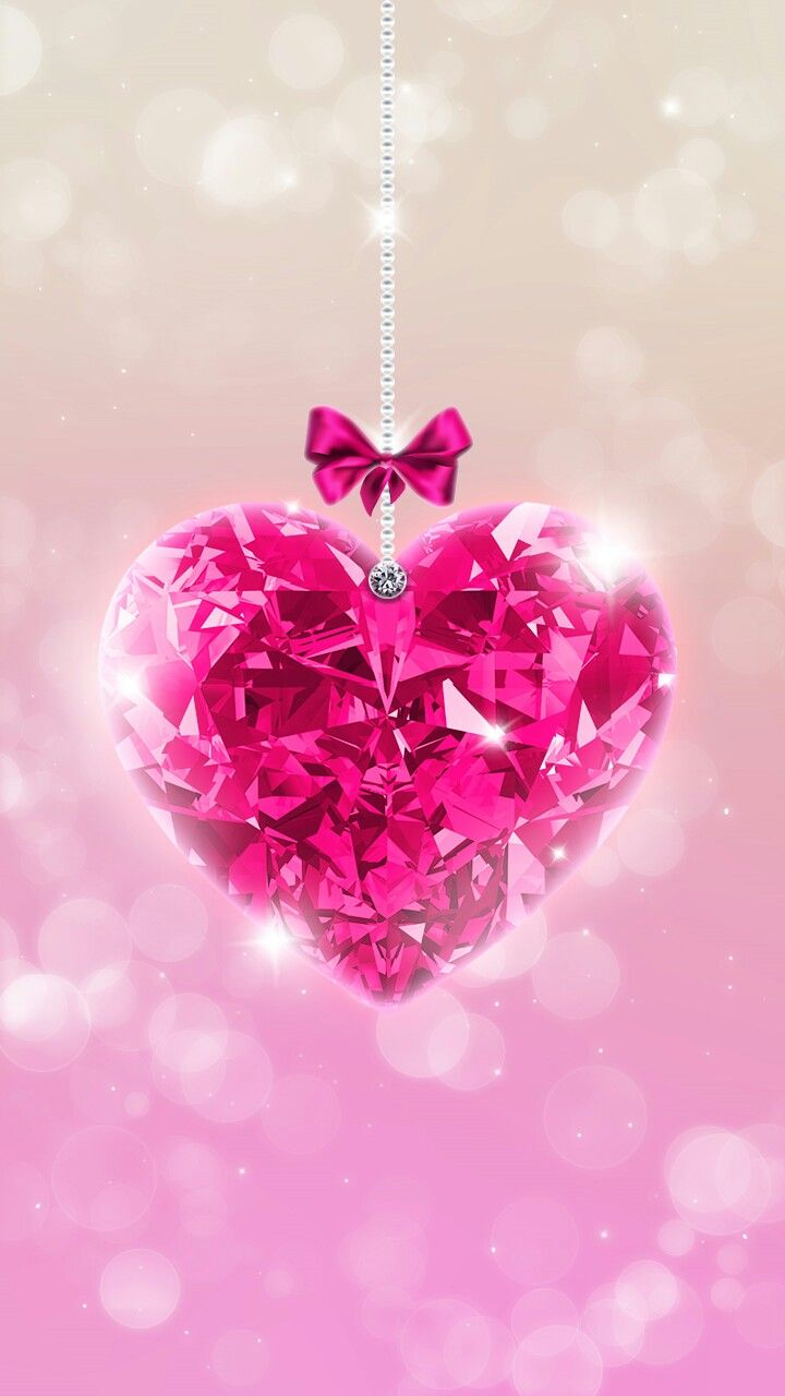 Pink Heart Sparkly Wallpaper Wallpapers Pinterest