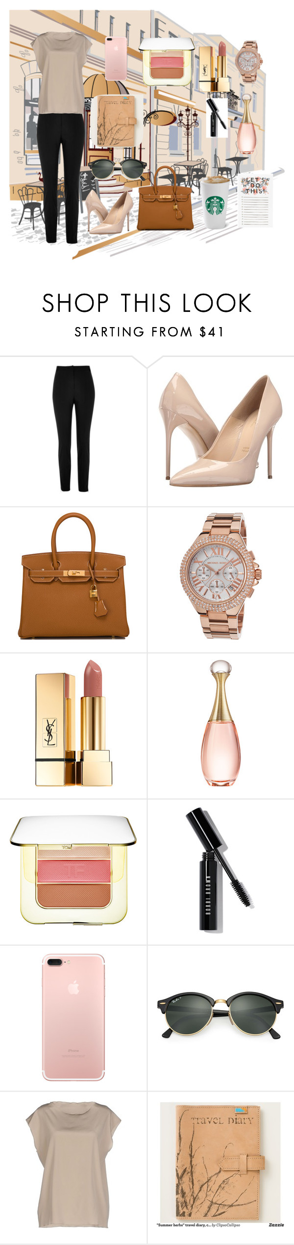 """Coffee Date"" by meow19 on Polyvore featuring River Island, Massimo Matteo, Hermès, Michael Kors, Yves Saint Laurent, Christian Dior, Tom Ford, Bobbi Brown Cosmetics, Ray-Ban and Base"