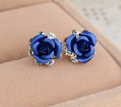 Blue Earrings Decorhstyle Com In 2020 Rose Stud Earrings Stud Earrings Rose Earrings