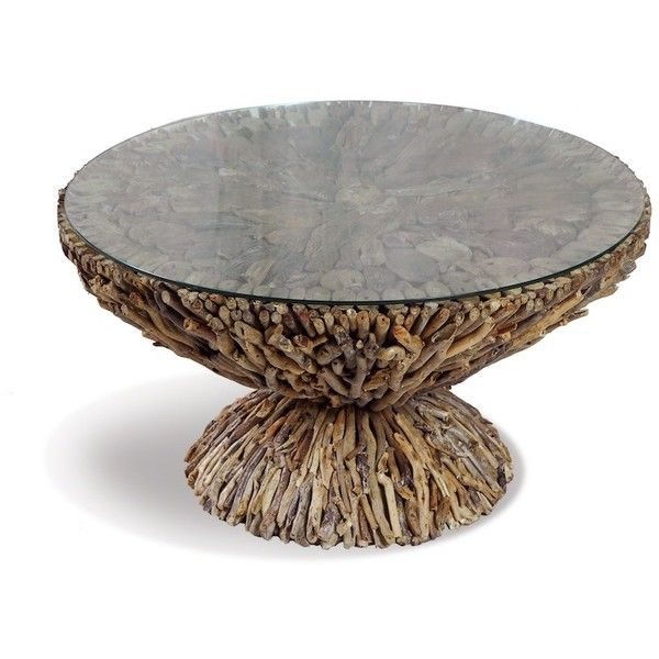 S Round Driftwood Coffee Table 350 Liked On Polyvore Featuring Home Furniture