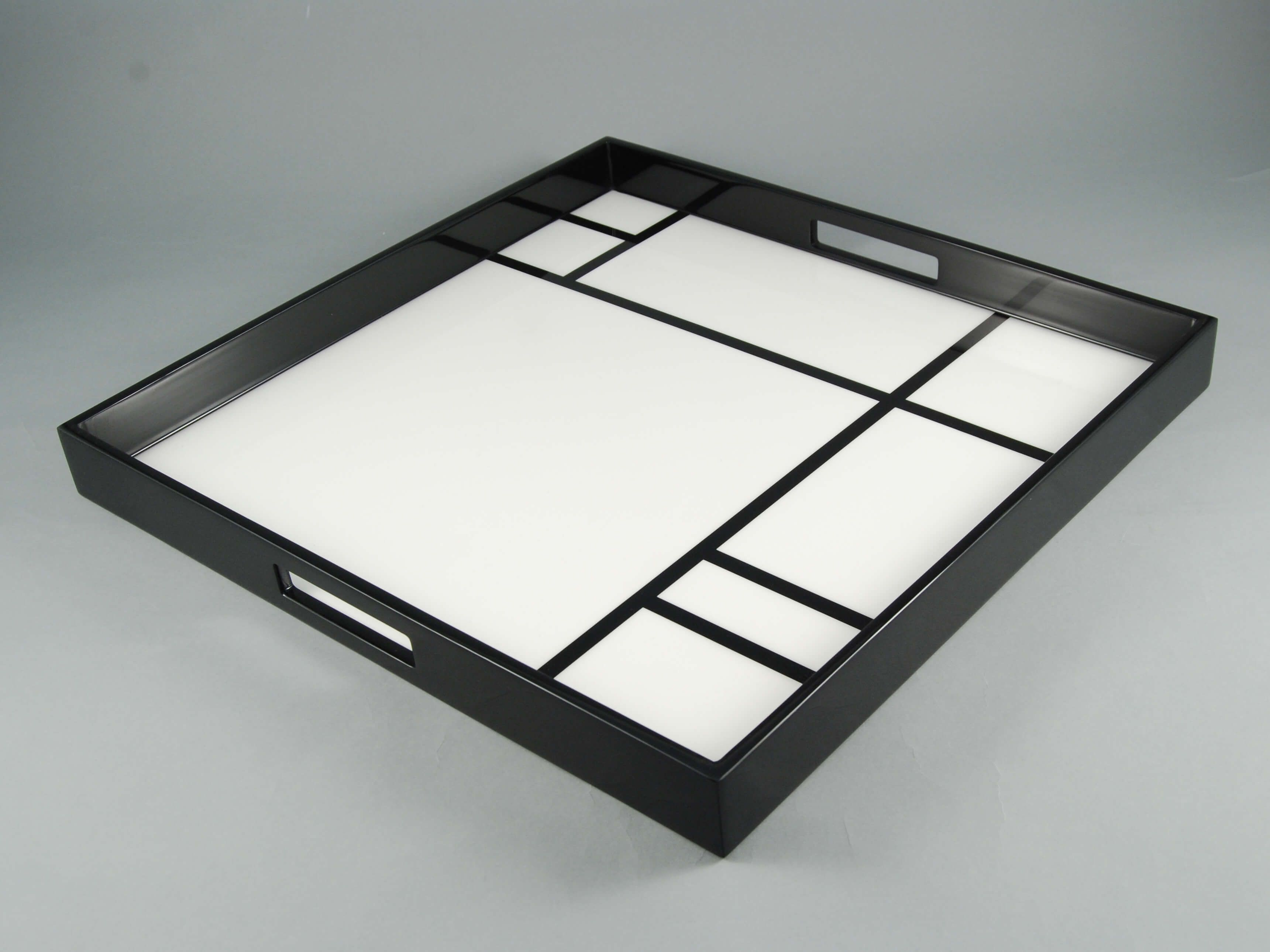 Black Decorative Tray Custom This Decorative Tray Is Featuring A Painting Of Piet Mondrian Inspiration Design