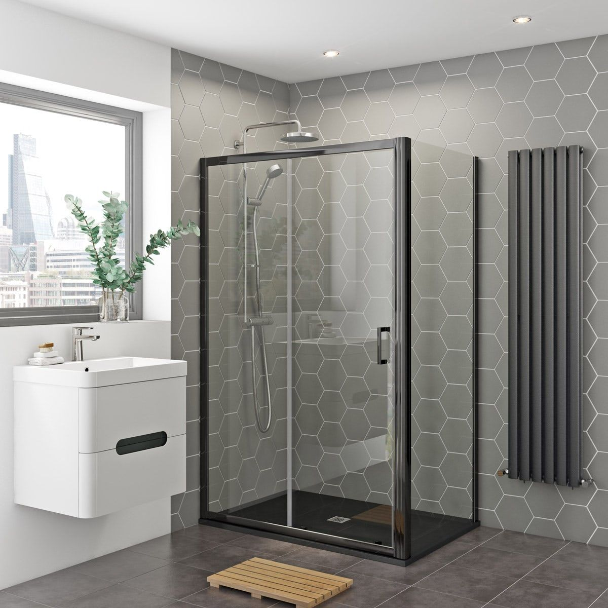 Mira Agile Shower Bundle With Mode Black Enclosure And Slate Effect Tray Rectangular Shower Enclosures Shower Enclosure Bathroom Interior
