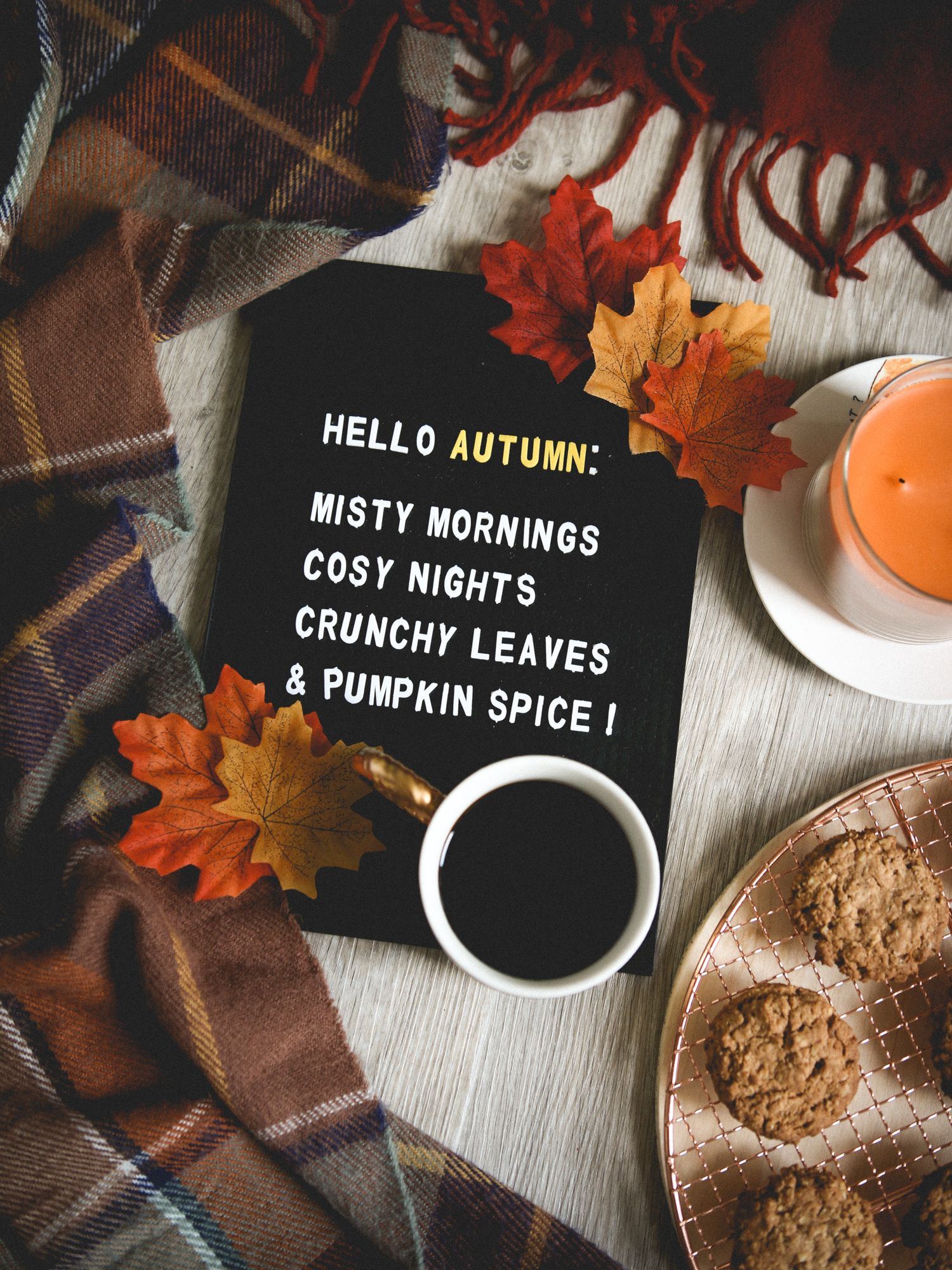 Hello autumn, misty mornings, cozy nights, crunchy leaves, and pumpkin spice! | fall aesthetic filled with colorful leaves, plaid blankets, candles, cookies #helloautumn