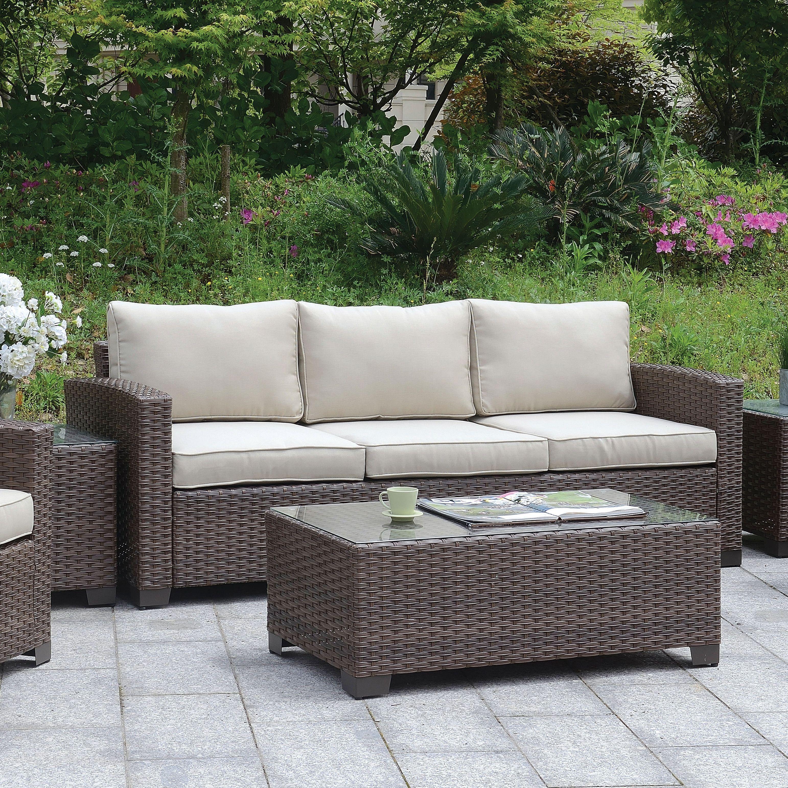 Furniture Of America Bryon Contemporary Wicker Like Sofa Brown Beige Size Single Patio Aluminum