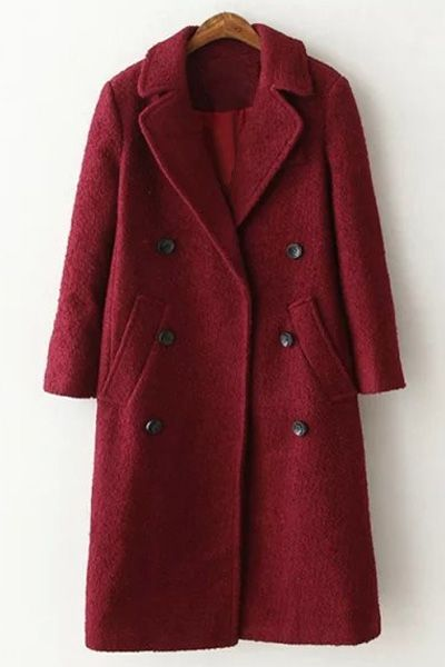 Lapel Long Sleeve Double Breasted Wool Coat Double