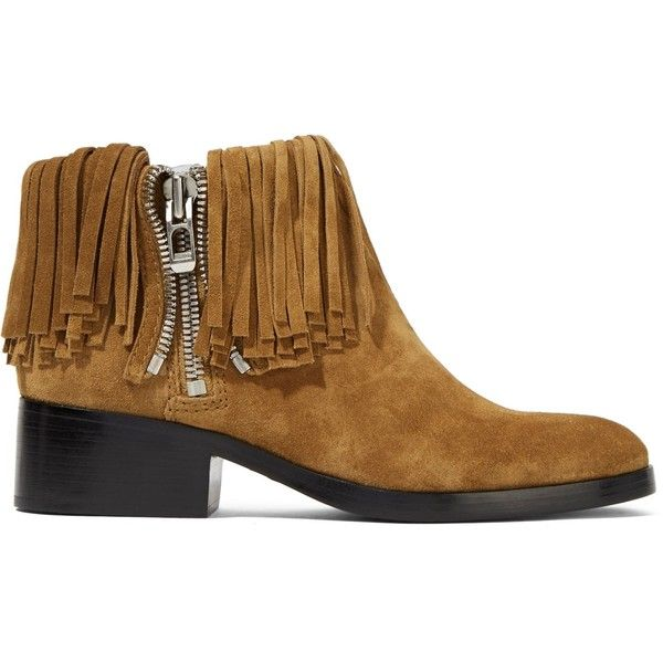 3.1 PHILLIP LIM Alexa fringed suede ankle boots ($245) ❤ liked on Polyvore  featuring