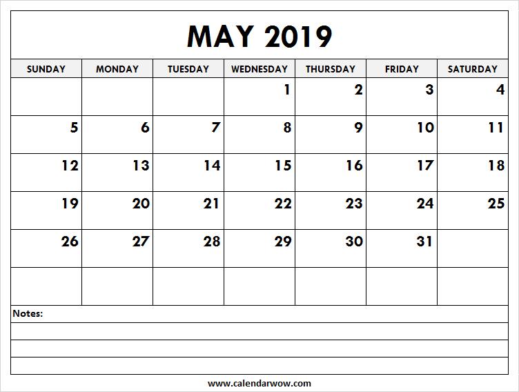 Printable May 2019 Calendar With Notes 2019 Calendar