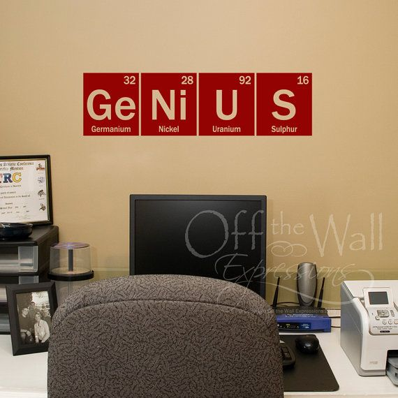 Genius vinyl wall decal, element decal, periodic table, classroom ...