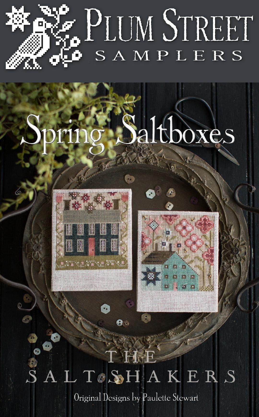 Autumn Saltboxes Plum Street Samplers Cross Stitch Pattern