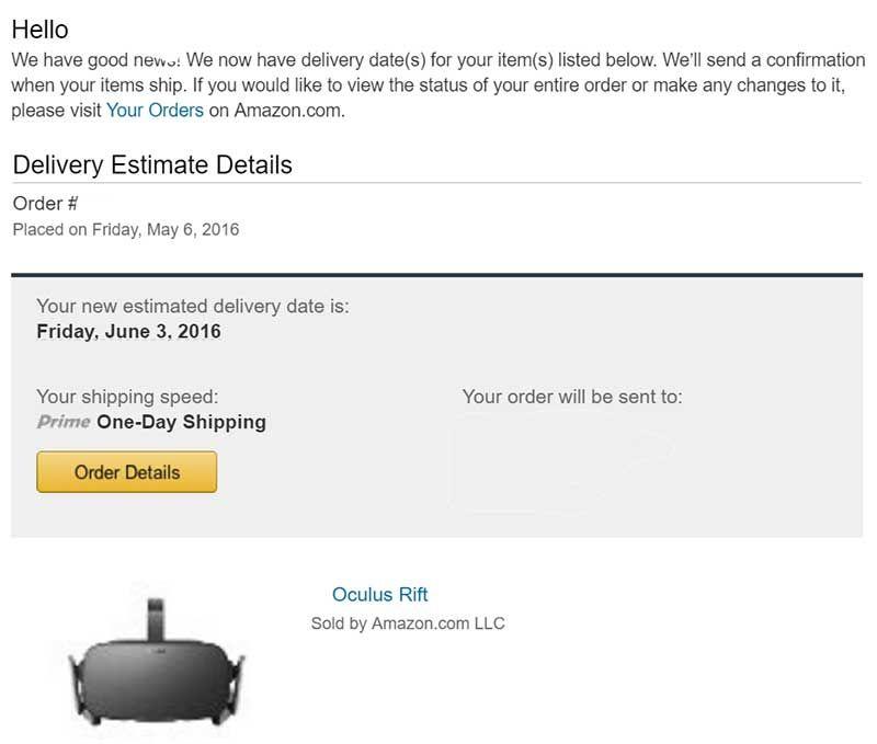 Amazon Oculus Rift Orders Start Shipping Oculus Rift Rift Oculus