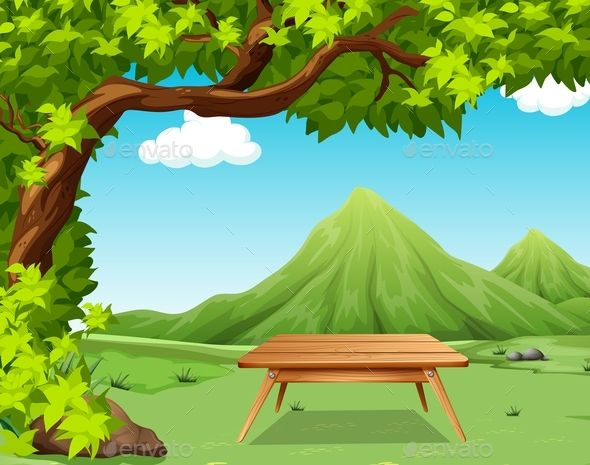 Nature scene with picnic table in the park illustration ...