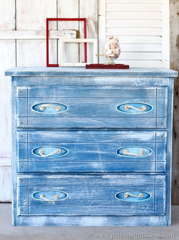 Sisal Rope Is A Good Accent For Nautical Style Furniture I Painted This Chest Blue And White Then Cut Knotted Drawer Pulls Fun Look