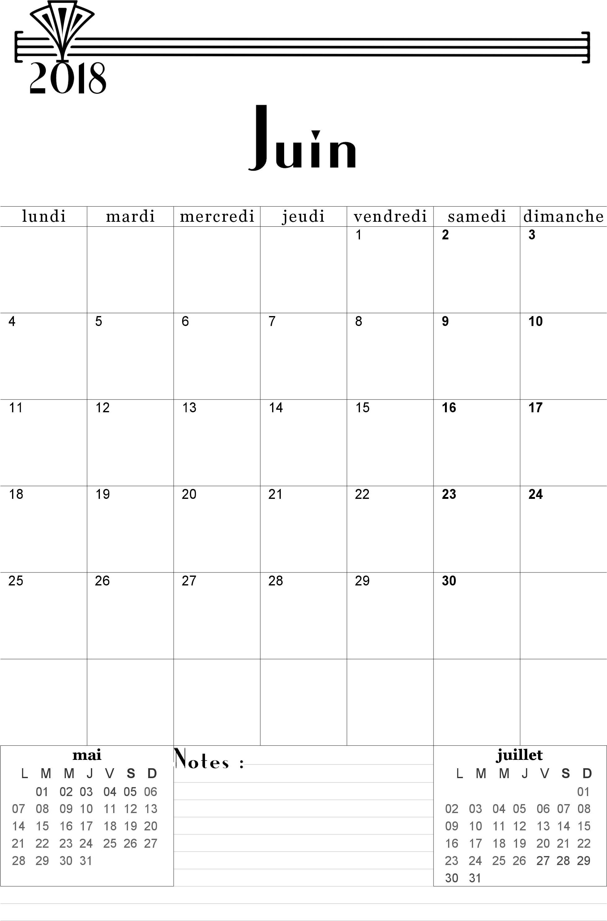 Calendrier Juin 2018 à Imprimer Calendrier Imprimable