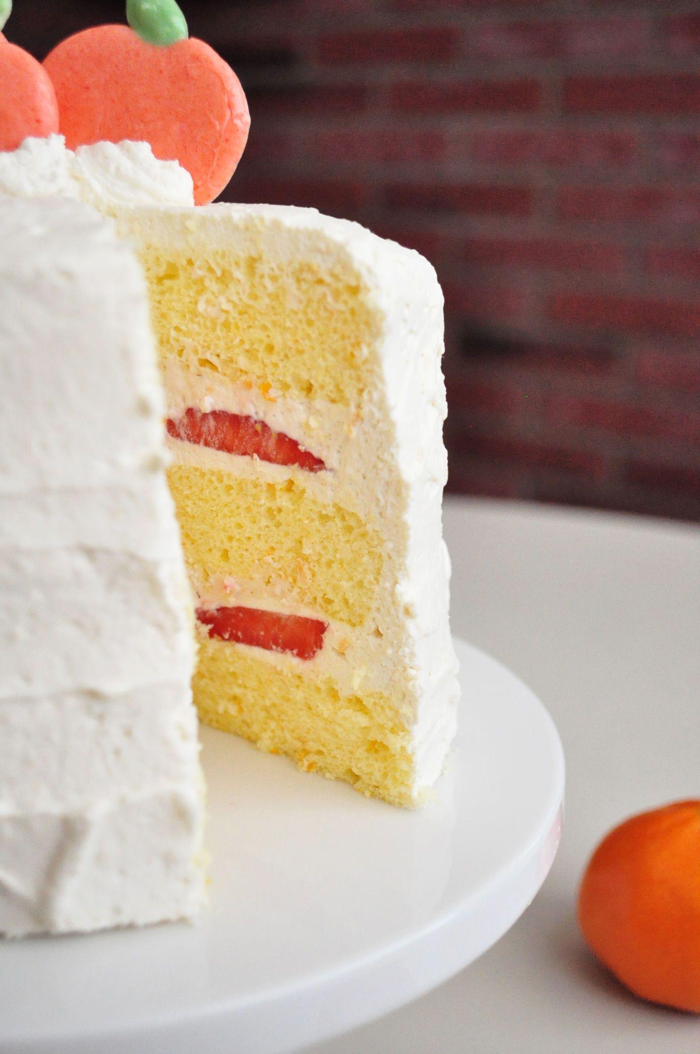 Orange And Strawberry Cream Cake