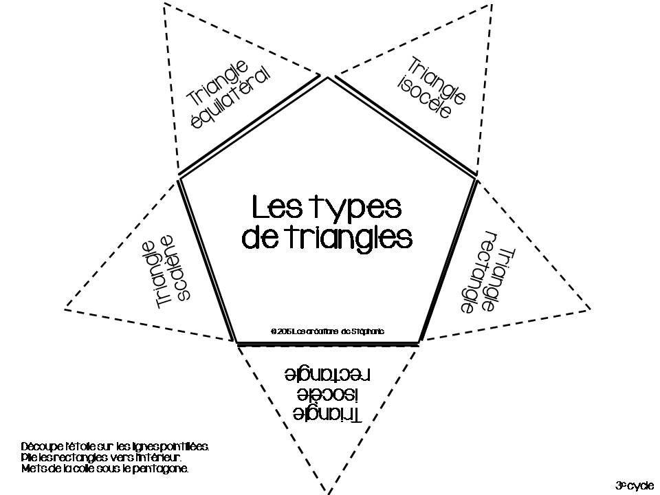 Les figures planes { Cahier interactif } | Type de triangle, Cahier et Mathématiques