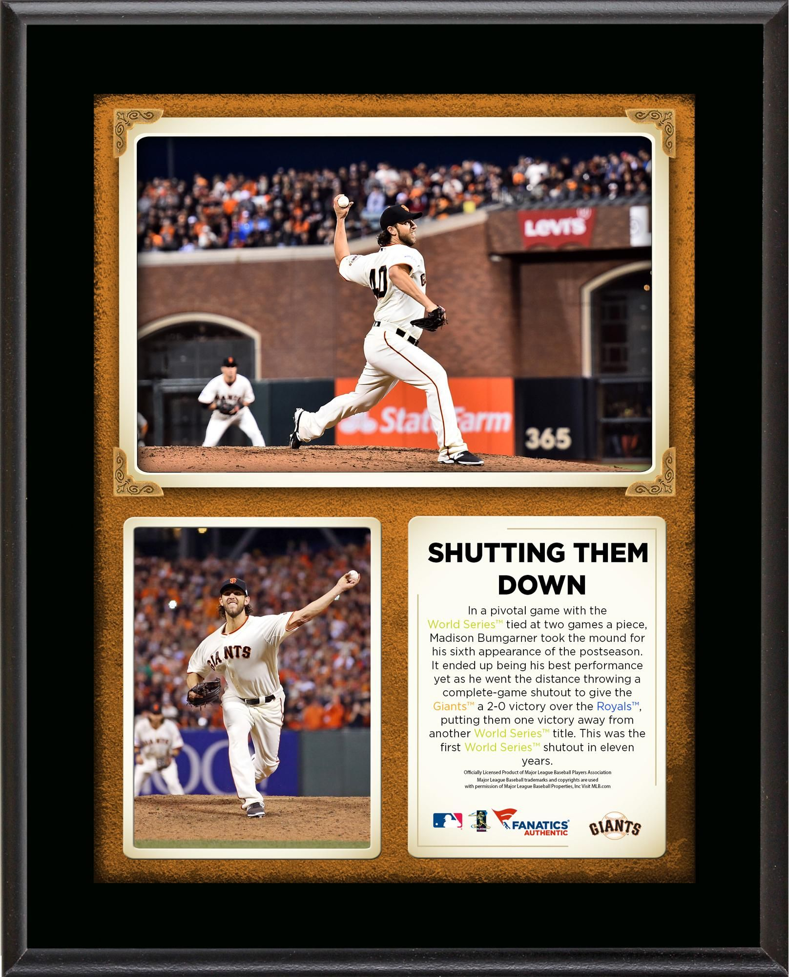 Madison Bumgarner San Francisco Giants World Series Complete Game Shutout 10 5 X 13 Sublimated Plaque Giants World Series Giants Team Madison Bumgarner