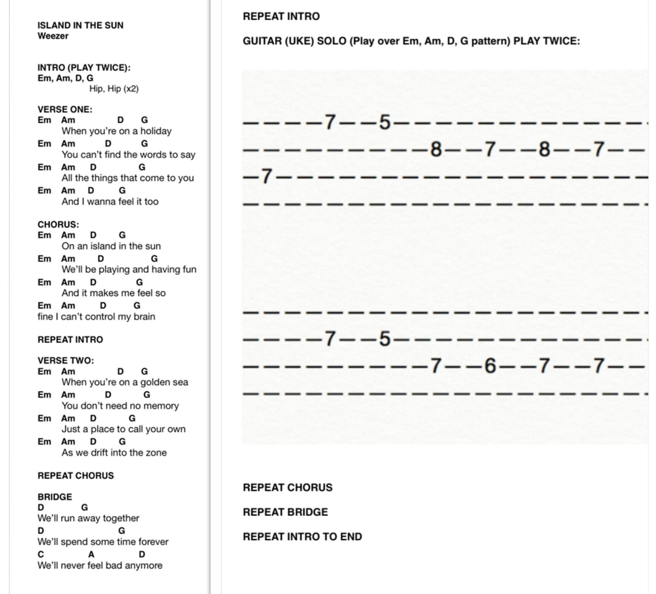 Island In The Sun Uke Chords And Tab Easy Version