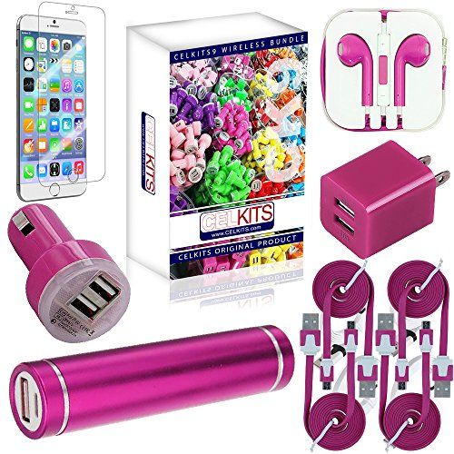 cool CELKITS 9 Item Original Pink Bundle (CK9) for Apple iPhone 6 USB Cable, Car, Home Charger, Screen Protector, External Battery Kit.