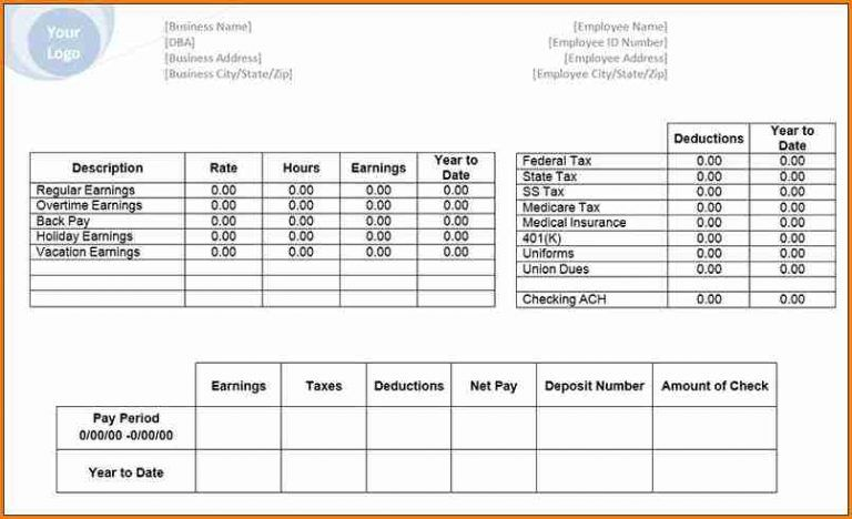 8 Payroll Stub Template Free Download Simple Salary Slip In