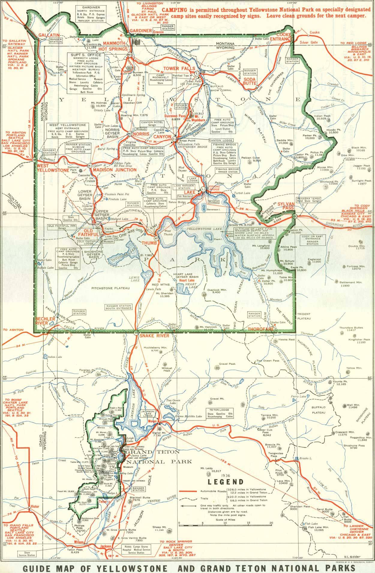 Yellowstone National Park Karte.1929 Yellowstone And Grand Teton National Parks Map