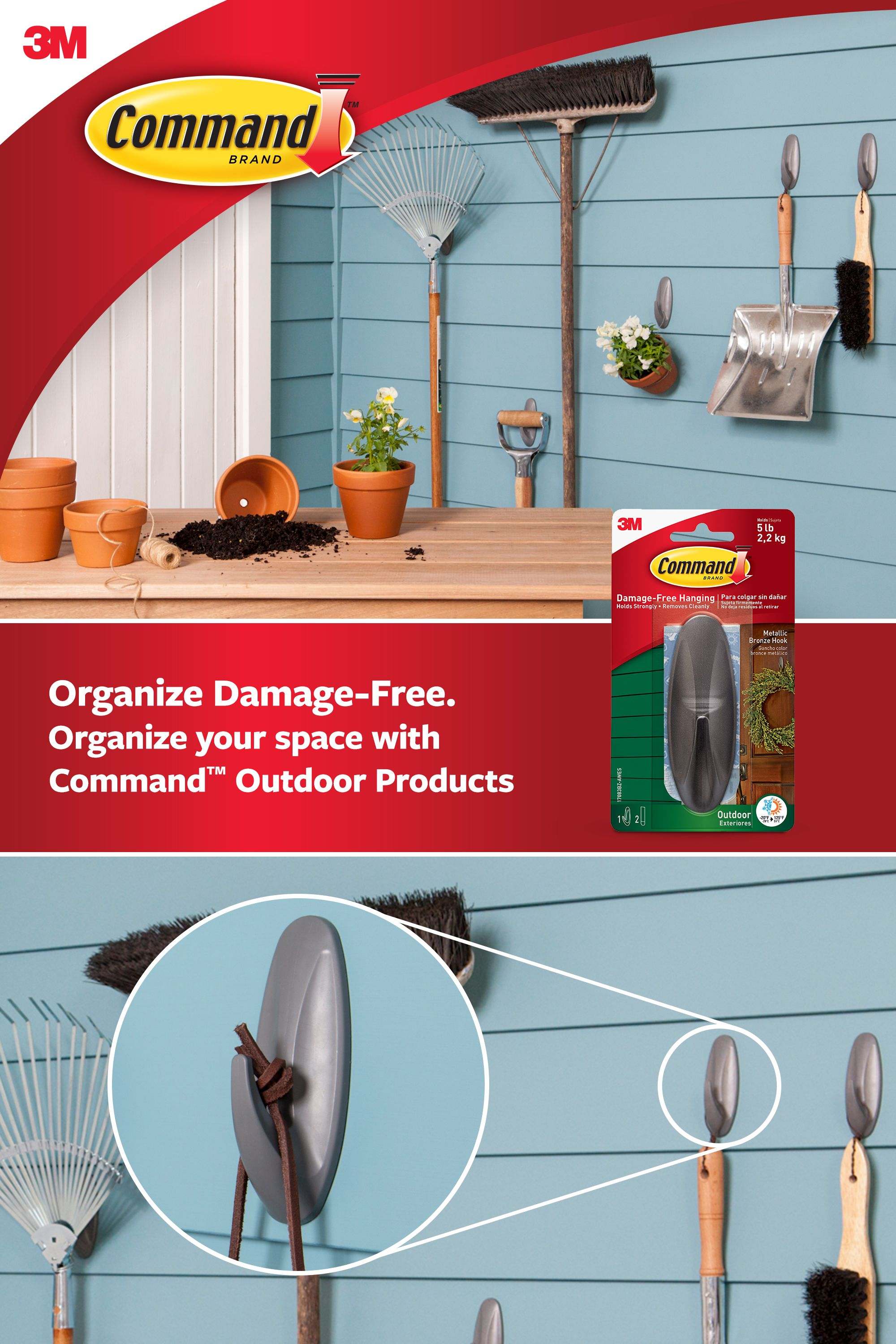 Command Outdoor Hooks In 2020 Hanging Wreath Garage Organization Tips Cool Things To Buy