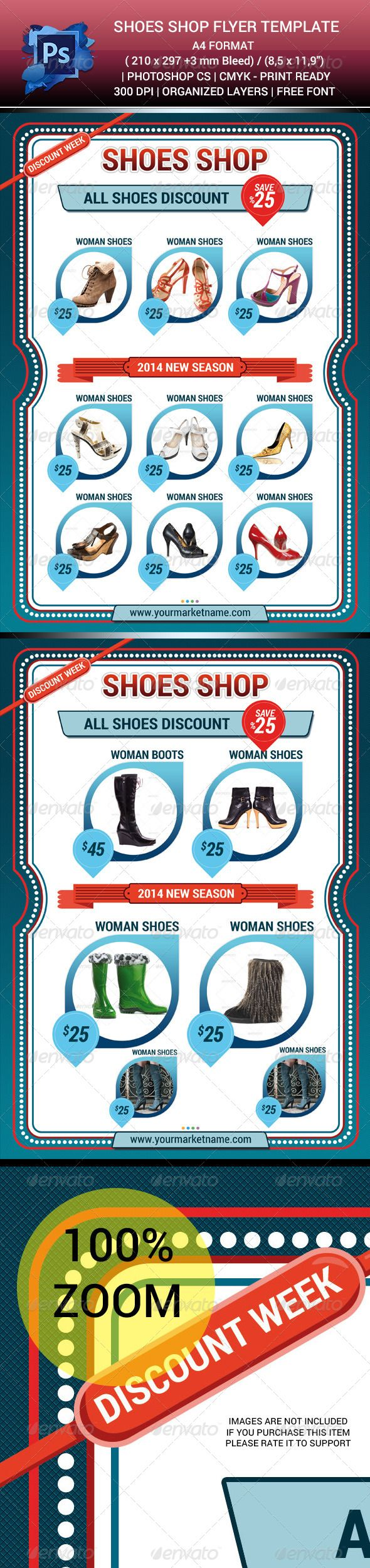 "Shoes Shop Sales Flyer Template V.1 #GraphicRiver NEW DESIGN SHOES SHOP SALES FLYER TEMPALET V.1 PSD 2 PSD FILES CMYK COLORS 2 PAGES (FRONT BACK) 300 DPI A4 FORMAT ( 210×297 +3 mm Bleed) / (8,5×11,9"") EDITABLE TEXT EDITABLE LOGO HIGH RESOLUTION PHOTOS NOT INCLUDED (USE YOUR OWN PHOTOS) CREATED IN PHOTOSHOP CS6 HELP TEXT ARE HERE…................ Completely editable and print Ready. 1* To change text and text color: Double click the ""T"" thumbnail on the layer to highlight the text you want to…"