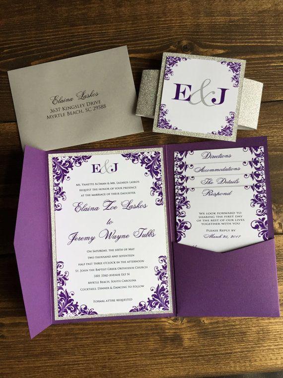 Wedding Baby Blue Matte Pocket Fold Invitations WEDDING Pocketfold Invites