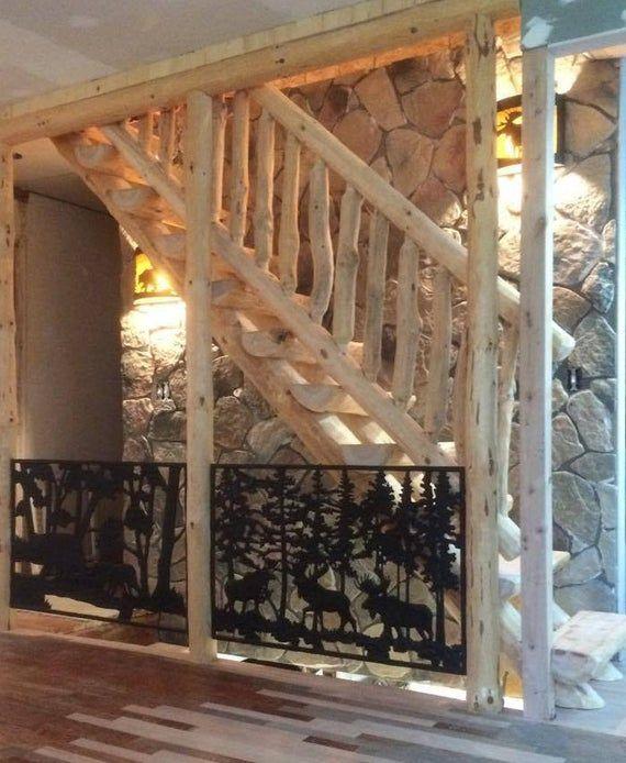 Best Half Log Straight Run Staircase Stairway Custom Handmade 400 x 300
