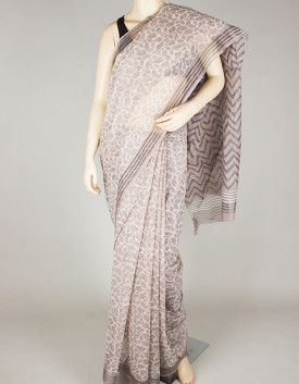 Hand Block Print Kota Doria Saree without Blouse-1176