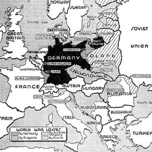 Germany before and after the treaty of versailles 1919 world war map of world war one losses by germany bulgaria austria hungary russia gumiabroncs Images
