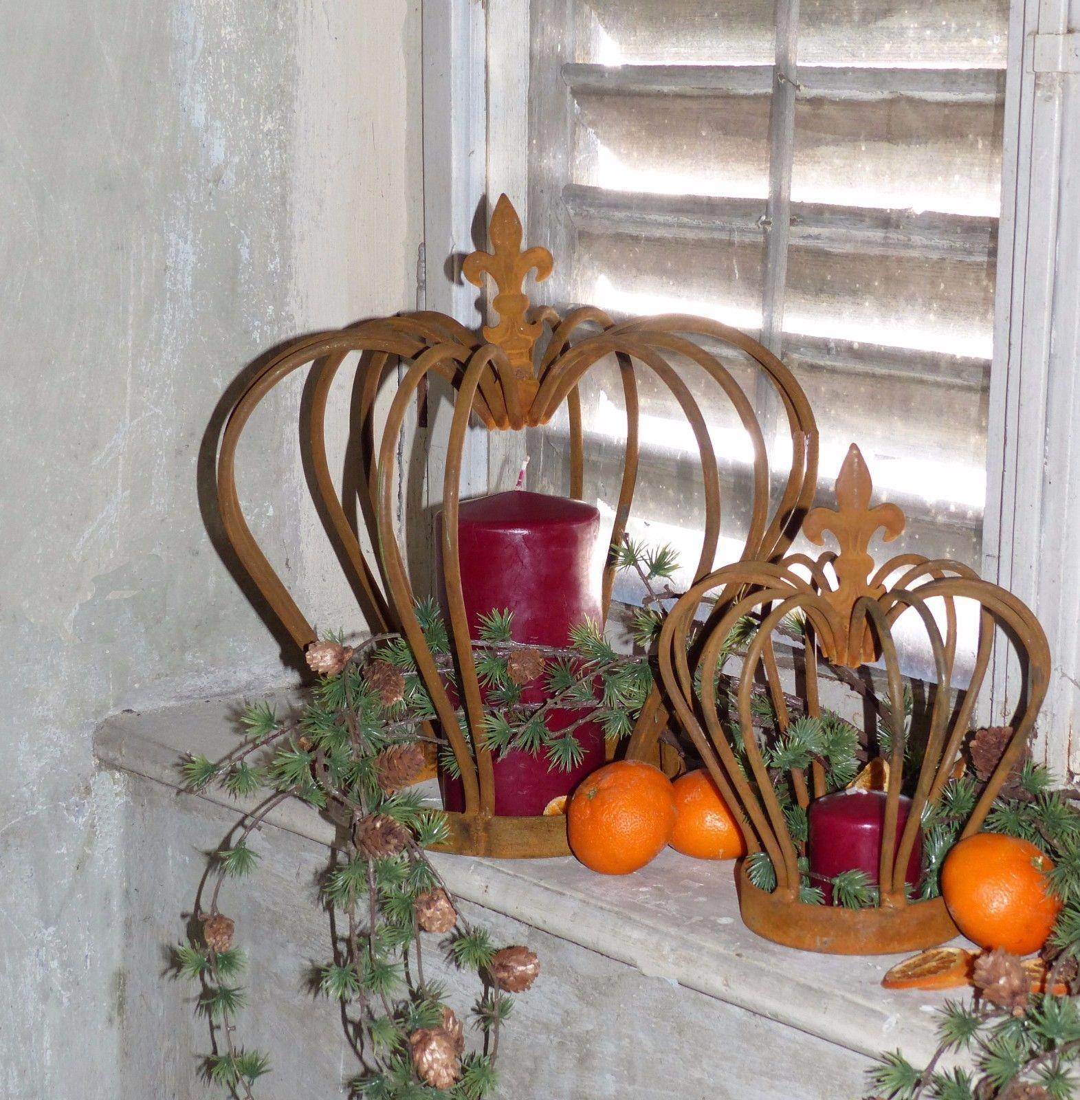 dekoartive Garten-Krone Deko-Krone Pflanz-Krone Metall rostig verschieden Größen