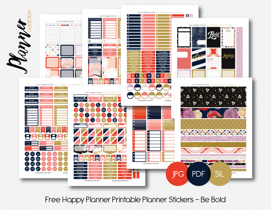 FREE Monthly Printable Planner Stickers Set - Be Bold - Happy Planner