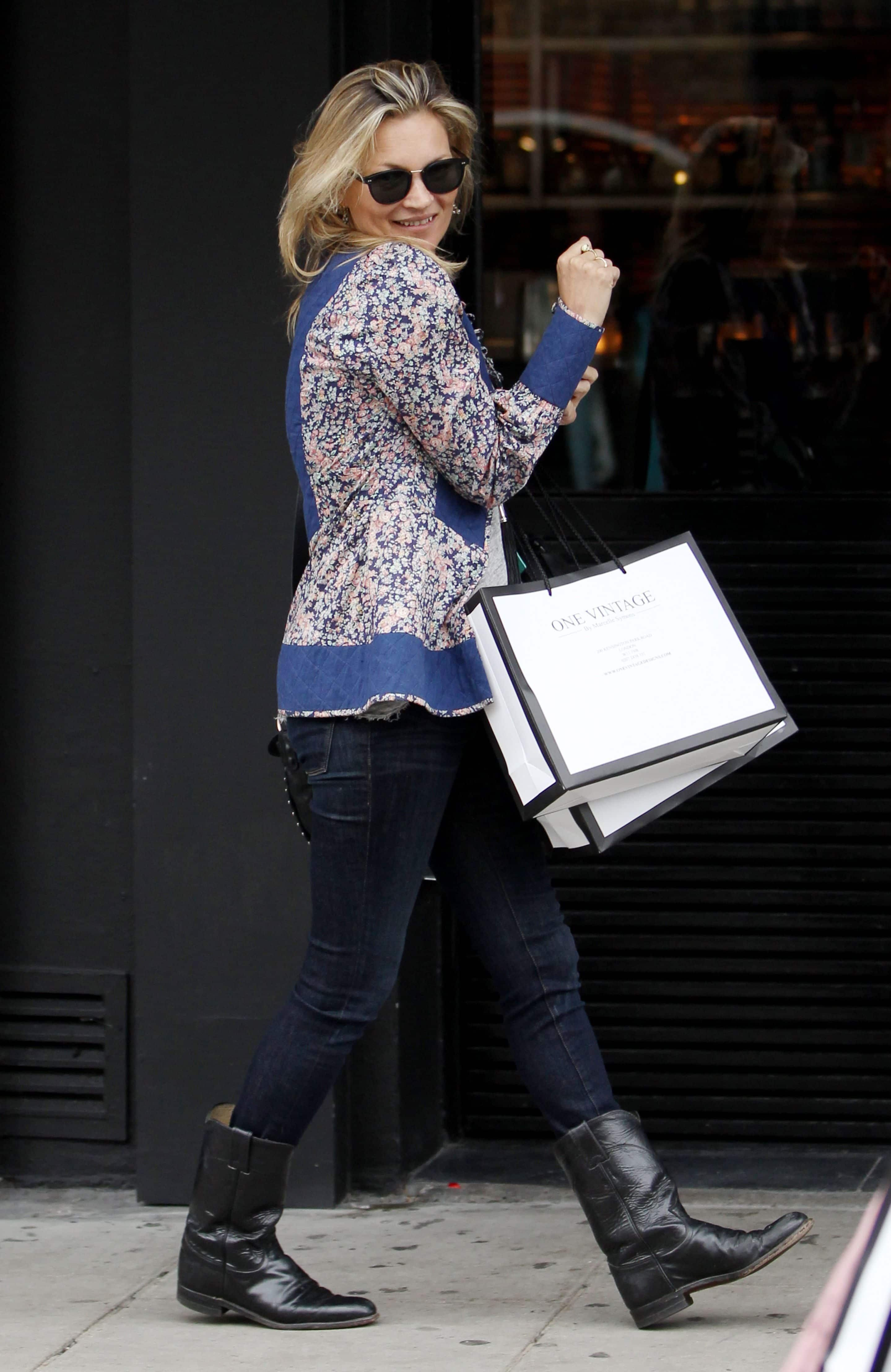 Kate Moss out vintage shopping in June 2016