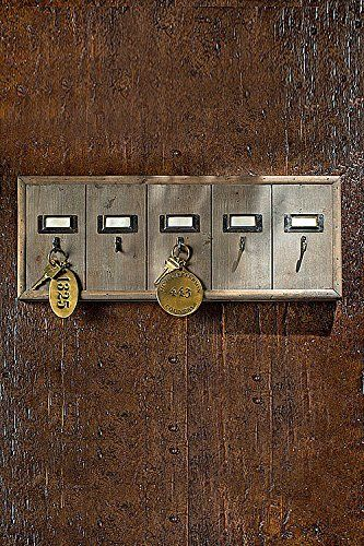 Vintage Inspired Wooden Hotel Key Hook Board Rack Small 5 Hooks