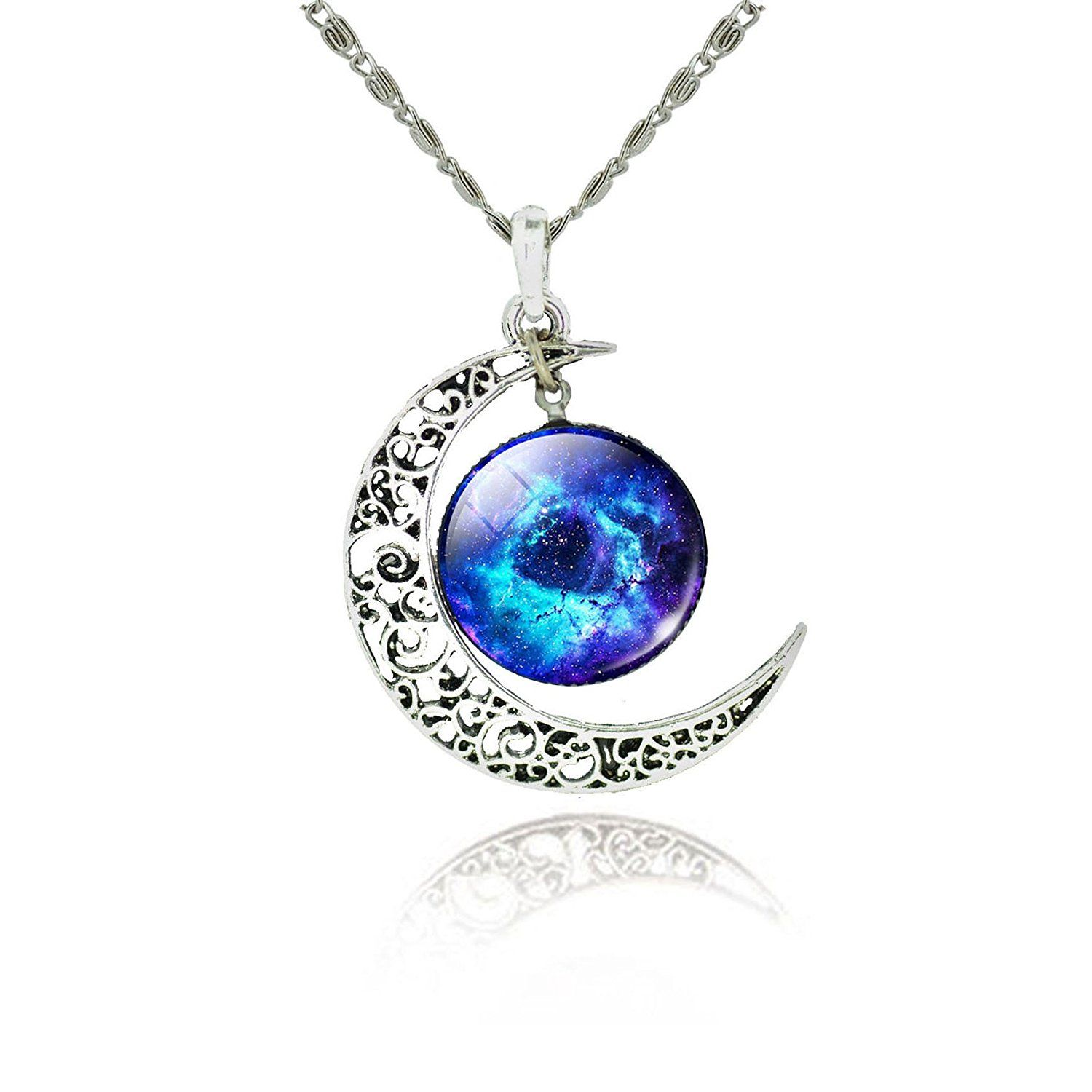 Tricess Women's Crescent Moon Galactic Universe Cabochon Pendant Necklace Gift *** Click on the image for additional details.