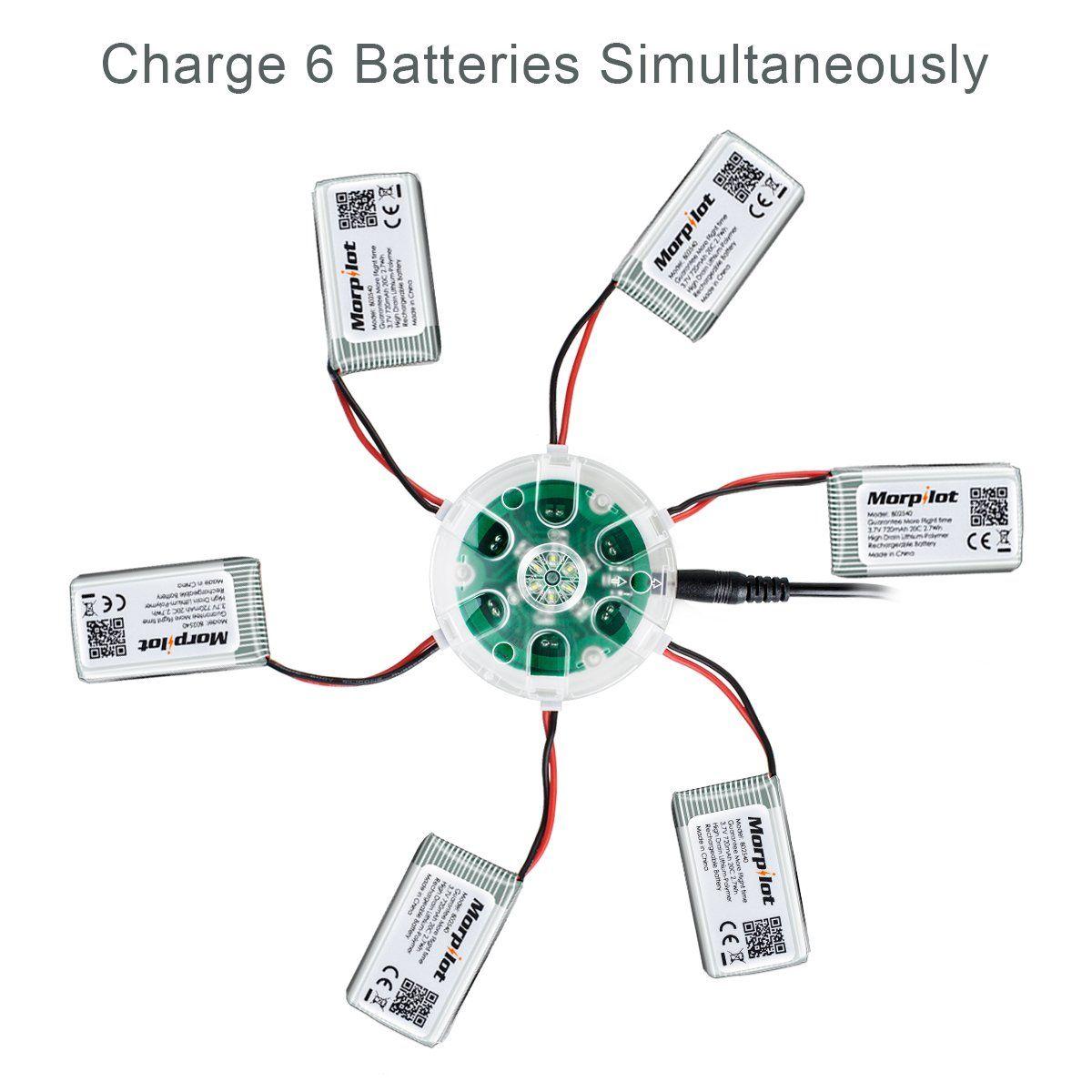 Upgraded Morpilot 6 Pcs 3 7v 720mah 20c Lipo Battery