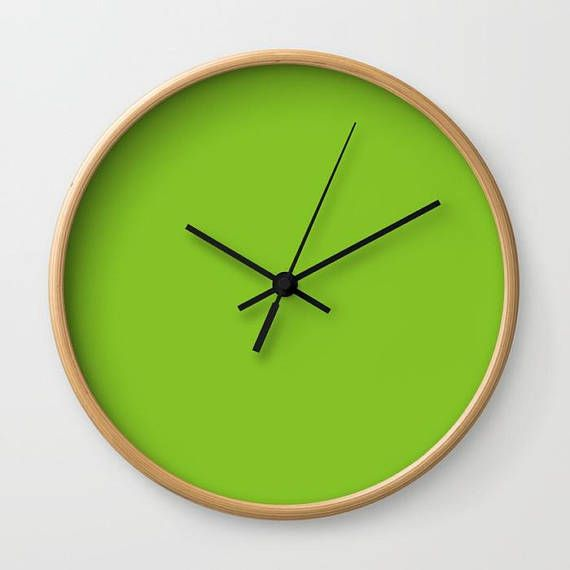 Green Wall Clock Solid Color Large Round Minimalist Simple