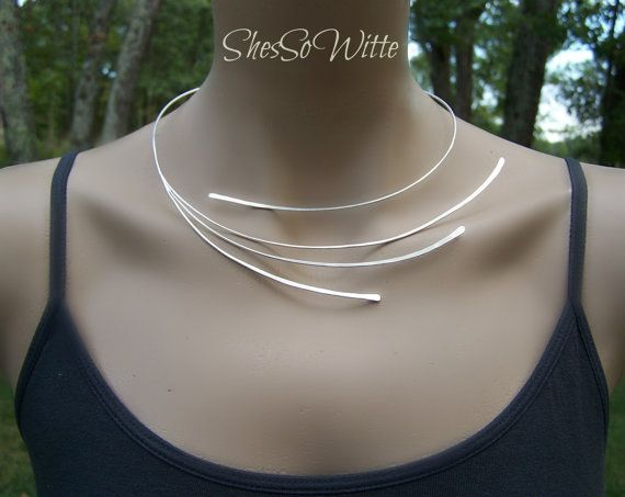Sterling Silver Torc Collar Torque Necklace by ShesSoWitte on Etsy