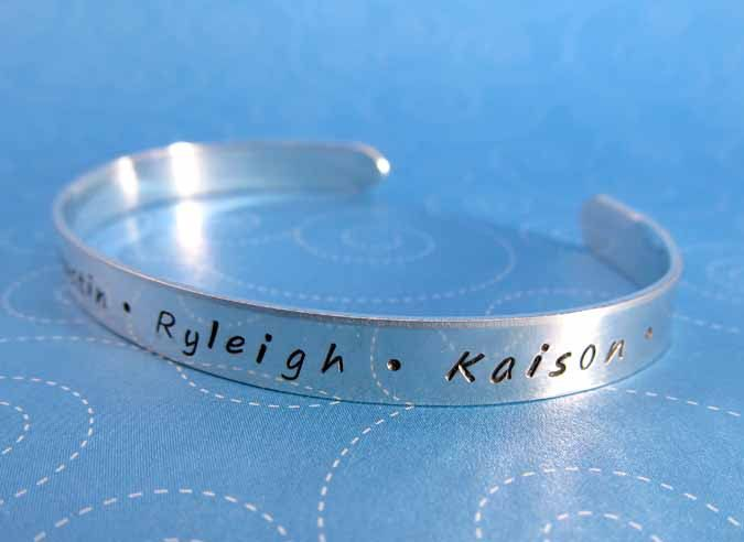 Personalized Cuff Bracelet, Sterling Silver Cuff, Handstamped Mothers Bracelet, Family Names Cuff. $60.00, via Etsy.